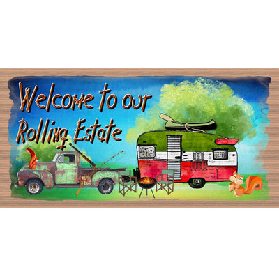 Camping Wood Signs -Our Rolling Estate -GS 3037 -Camper RV Wood Sign