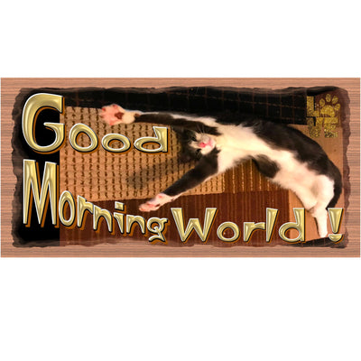 Cat Wood Signs - Good Morning World - GS 3207-Cat Sign