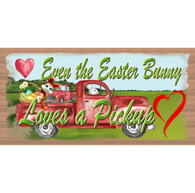 Easter Wood Signs-Easter Bunny Loves a Pickup  GS 3258 -Easter Plaque