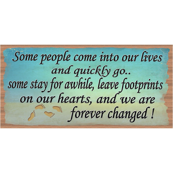 Footprints Wood Signs - Handmade Wood plaque Footprints - GS 389 - Primitive Handmade Wood Signs - Wood plaques Footprints