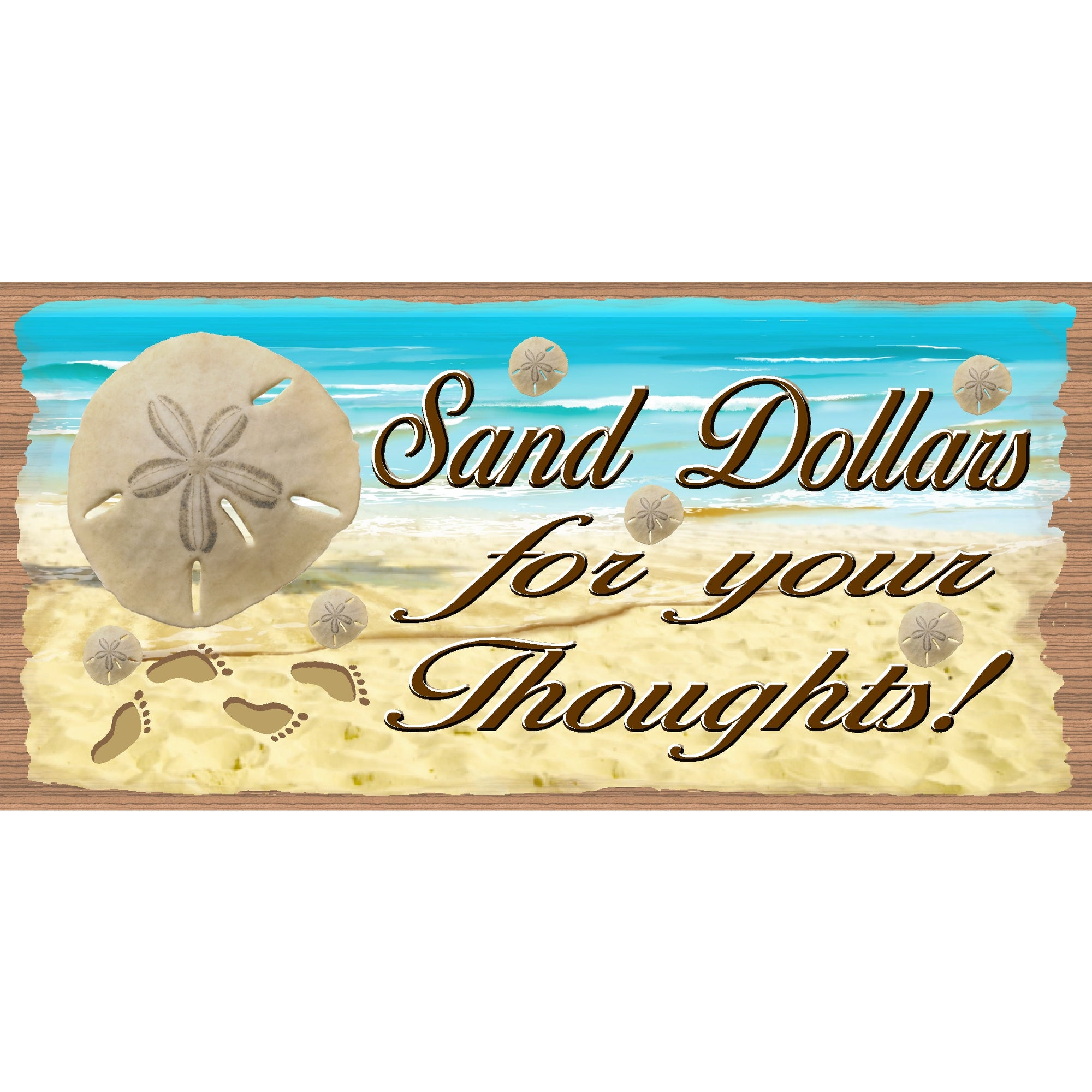 Beach Wood Signs Tropical - GS 393  -Beach Decor signs -  Sand Dollar Sign