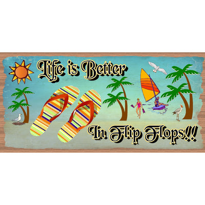 Flip Flop  Wood Signs -Life is Better in Flip Flops GS 656 Beach Decor - Tropical Signs