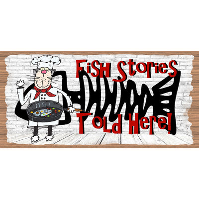 Cat Wood Signs -Fish Stories- GS 671X -Fish Plaque