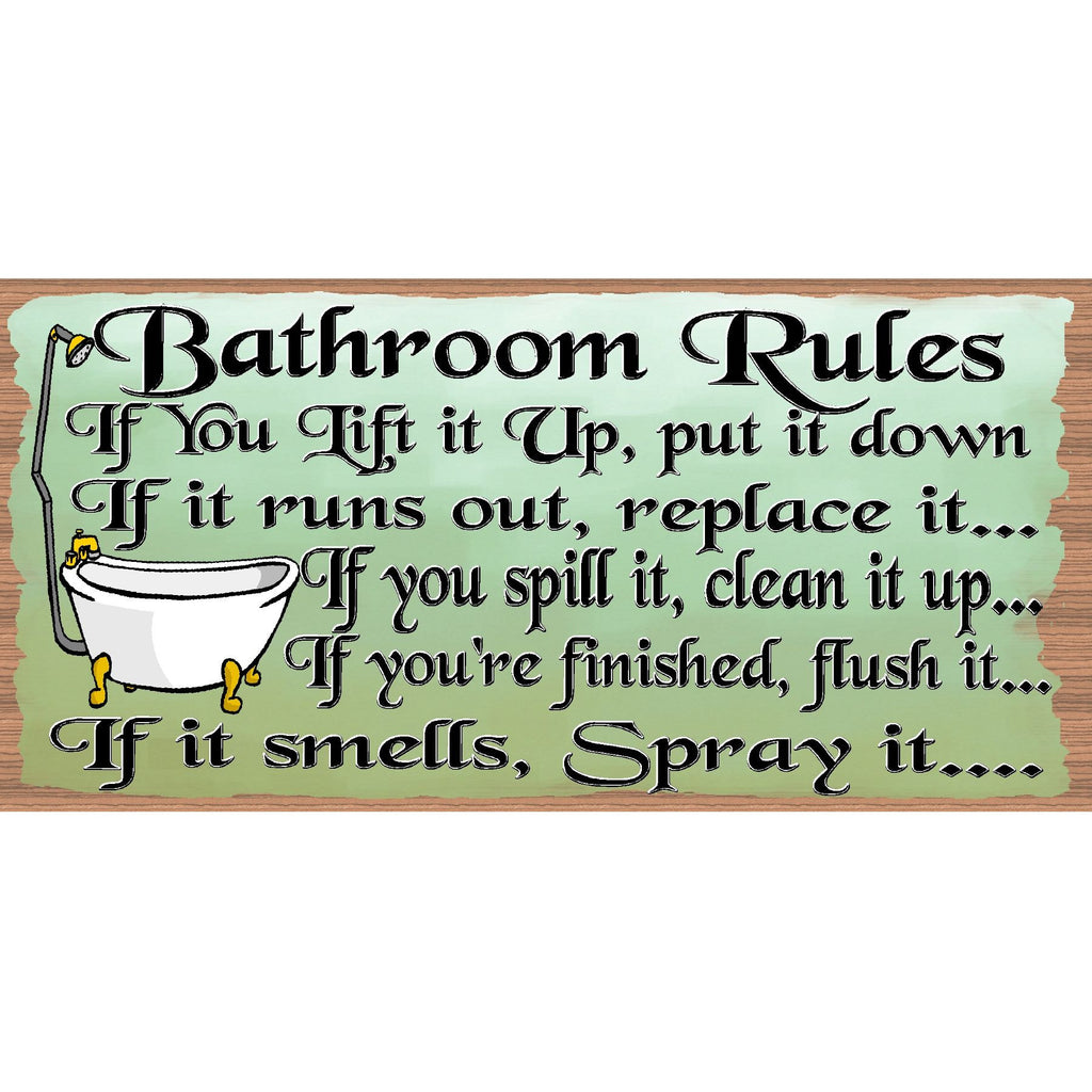 Bathroom Wood Signs -Bathroom Rules -GS 751 Bathroom Plaque