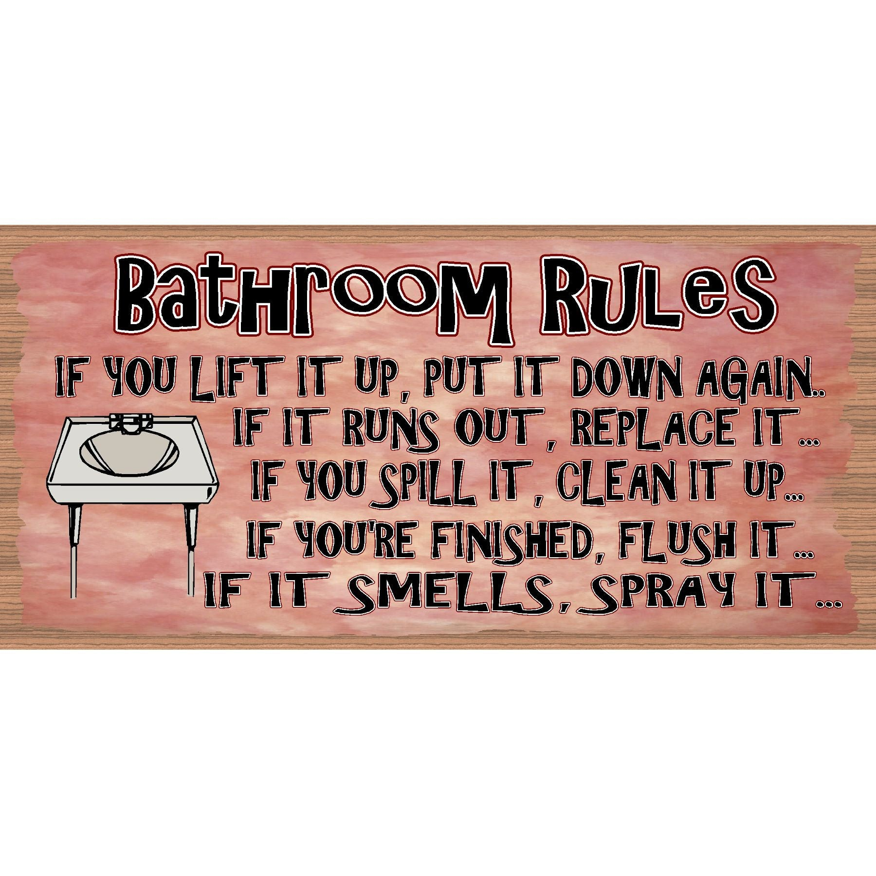 Bathroom Wood Signs - Bathroom Rules plaque- GS 754 -Bathroom Rules Plaque