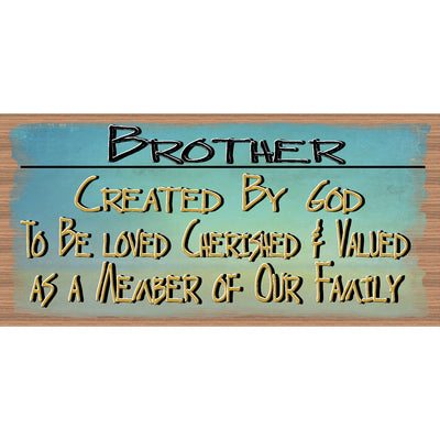 Brother Wood Signs -Created by God -GS 981-Brother Plaque