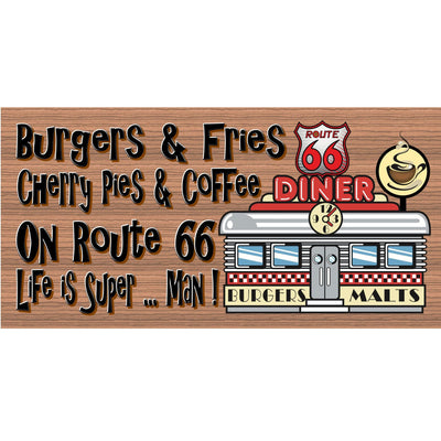 Retro Wood Signs -Route 66- GS 297 -Diner Sign