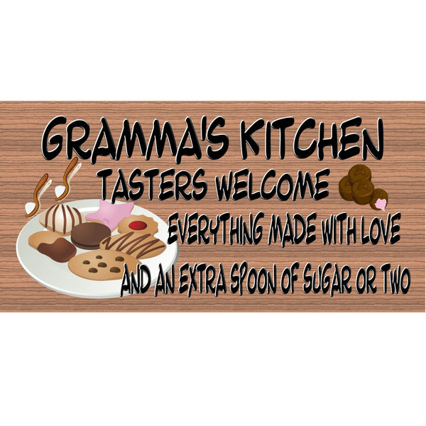 Wood Signs - Gramma's Kitchen Plaque with Cookes and Candy and Extra Sugar GS300