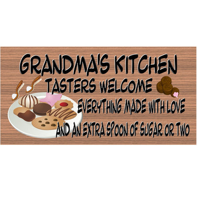 Grandma Wood Signs - Grandms's Kitchen Plaque with Cookes and Candy and Extra Sugar GS 303
