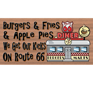 Retro Wood Signs - Route 66 G S298 -Diner Sign