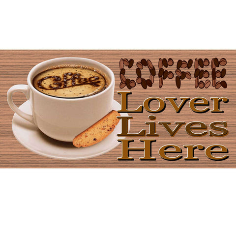 Wood Signs - Coffee Lover Lives Here GS809