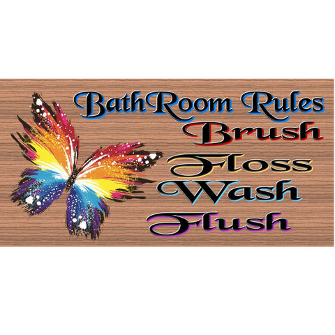 Bathroom Wood Signs - Bathroom Rules -GS 735