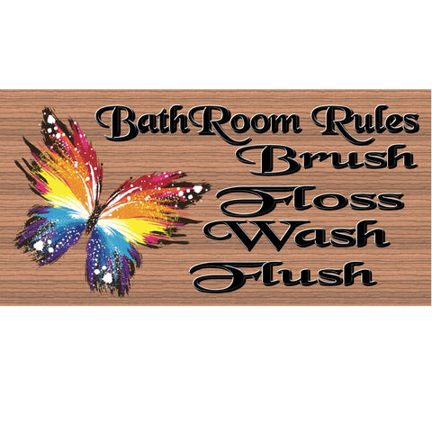 Bathroom Wood Signs - Bathroom Rules - GS 736