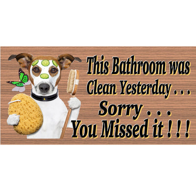 Bathroom Wood Signs - Bathroom Rules with Jack Russell Terrier- GS 733