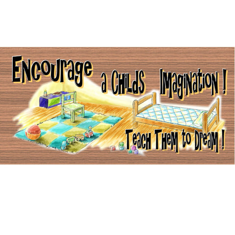 Wood Signs - Childs Imagination GS318 A child plaque about Learning