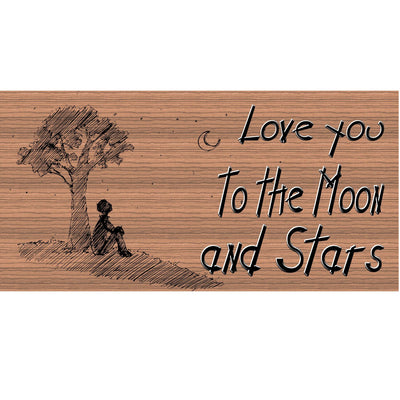 Romantic Wood Signs -I Love You to the Moon and Stars Plaque -GS 347- Romantic Plaque