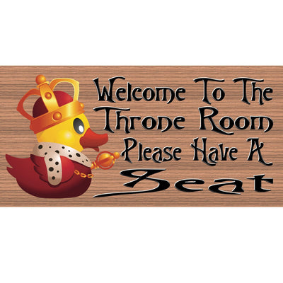 Bathroom Wood Signs -Welcome to the Throne GS738 Rubber Ducky Bathroom Sign - Bathroom Decor