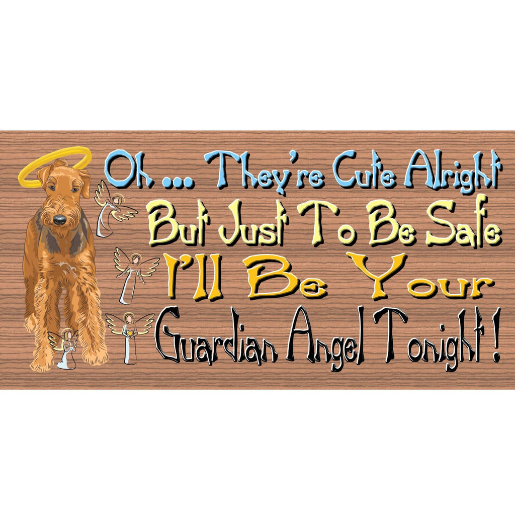 Wood Signs -Airedale GS465 Airedale Guardian Angel - Wood Signs