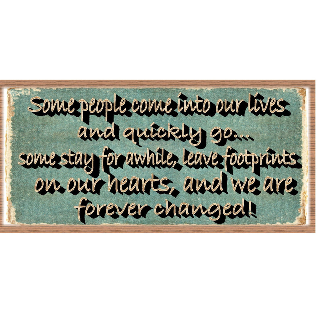 Wood Signs - Footprints on Our Hearts GS1002 Wood Plaque about Friendship