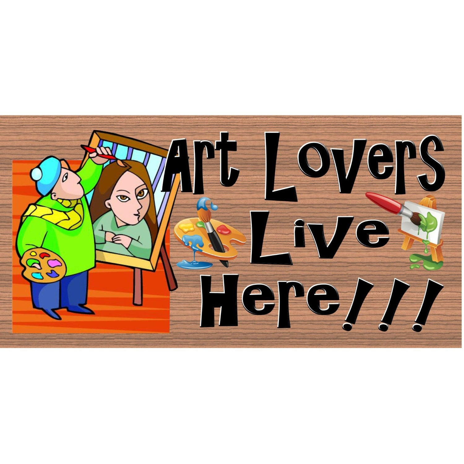 Artistic Wood Signs - Art Lover Lives Here- GS 1176