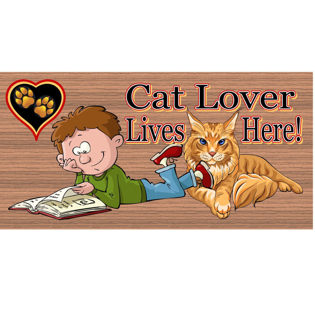 Wood Signs - Cat Lover Lives Here GS 1246 Wood Plaque
