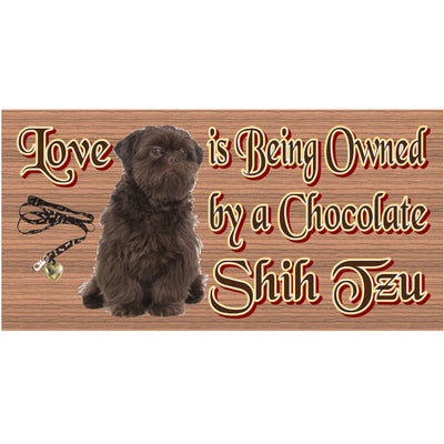 Shih Tzu Wood Signs - Chocolate Shih Tzu- GS 1250 -Dog Sign
