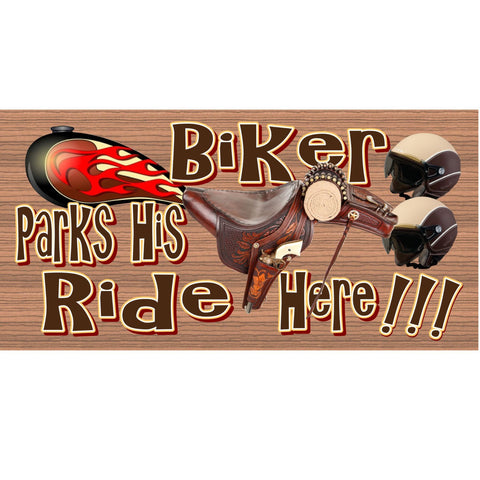 Wood Signs - Biker Parks His Ride Here GS 1252