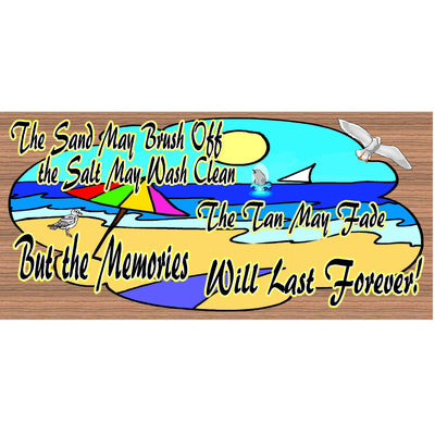 Beach Wood Signs - Beach Memories Will Last Forever- GS 962-Tropical Sign