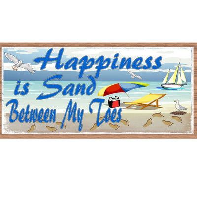 Beach Sign Wood Signs - Happiness is Sand Between My Toes GS 953 - Tropical Sign