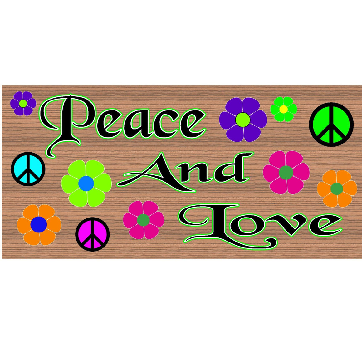 Hippie Wood Signs -Peace and Love- GS 994- Hippie Plaque