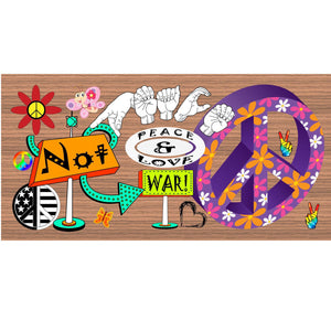 Hippie Wood Signs -Peace and Love- GS 1361- Hippie Plaque
