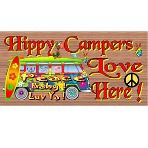 Hippie Wood Signs - Hippy Campers Love Here -GS 1364