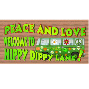 Hippie Wood Signs -GS 1373 - Hippie Plaque