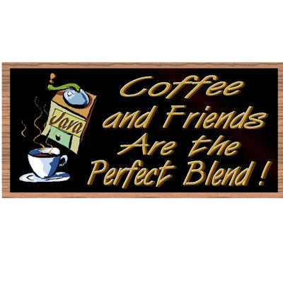 Coffee Wood Signs - Coffee and Friends are the Perfect Blend GS565-Coffee Plaque