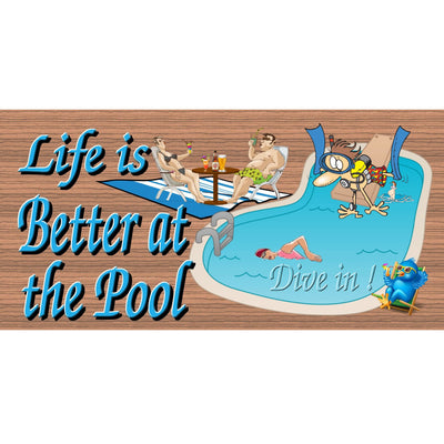 Pool Wood Signs -Life is Better at the Pool- GS 1399-Swimming Pool Sign