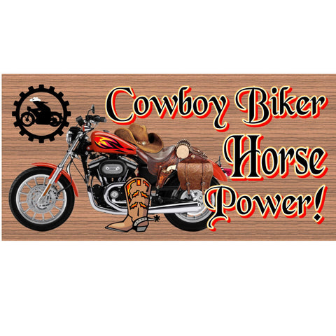 Wood Signs - Cowboy Biker Horse Power plaque GS 1270 GiggleSticks