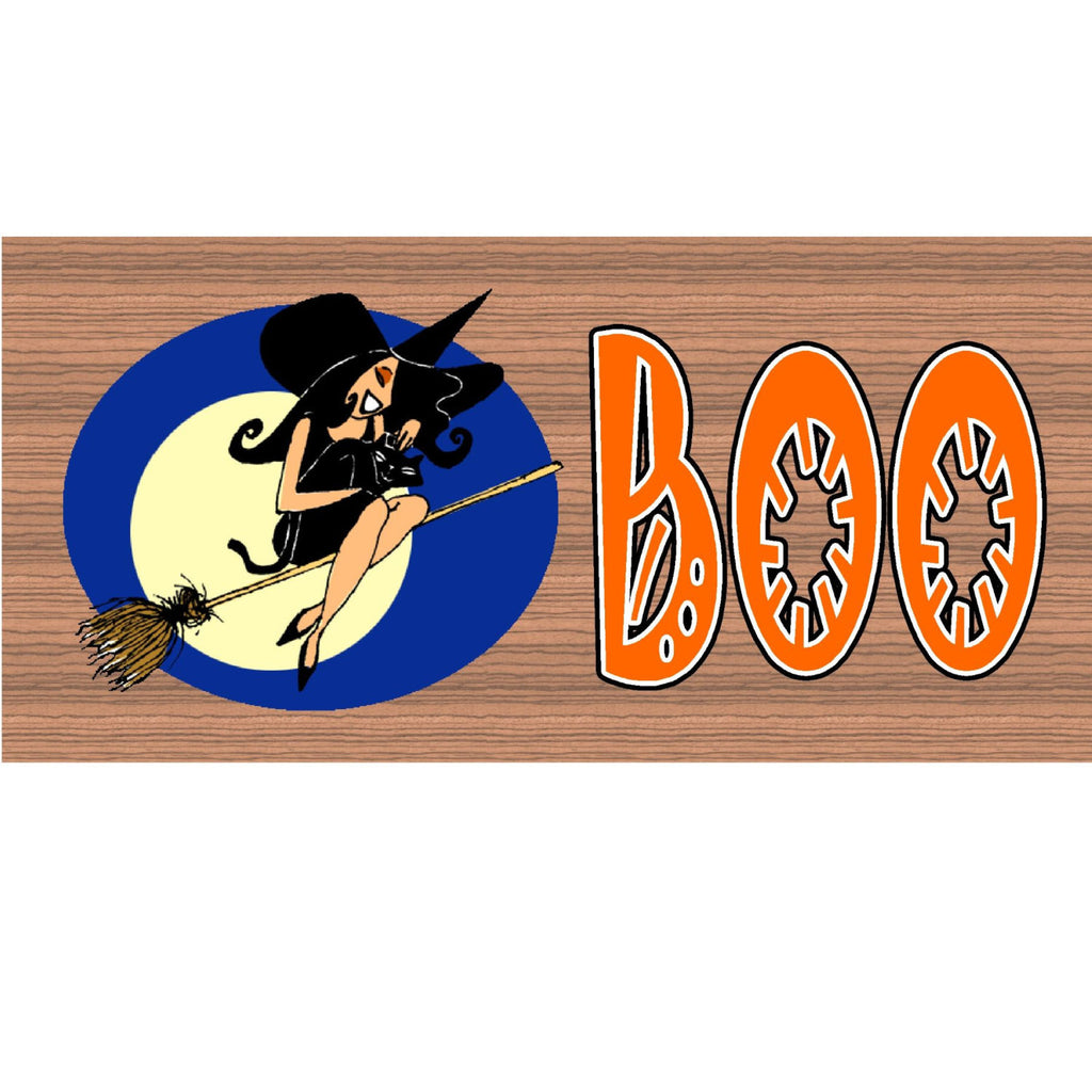 Wood Signs - BOO Halloween plaque GS 597 GiggleSticks Wood Grain