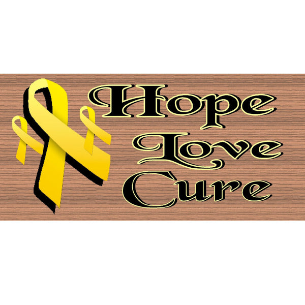 Wood Signs - Childhood Cancer Awareness Hope Love Cure GS1514 GiggleSticks Wood Plaque