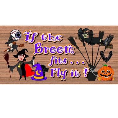 Halloween Wood Signs -If the Broom Fits Fly It- GS 1421-Halloween Plaque