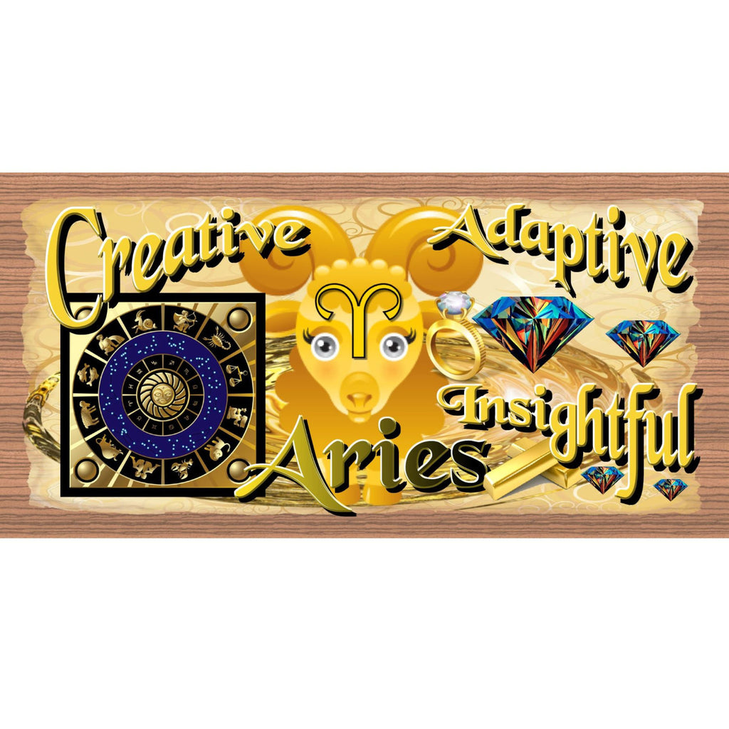 Wood Signs - Handmade Wood Sign Aires - GS1634 - Handmade Wood Plaque Aires - Zodiac Aires Handmade wood Sign - Primitve Aires Wood Plaque