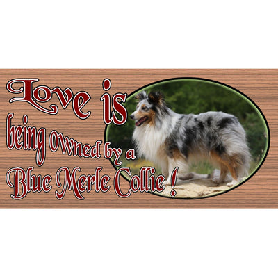 Blue Merle Collie Wood Signs -Love is Being Owned by a Blue Merle Collie GS1671- Dog Sign