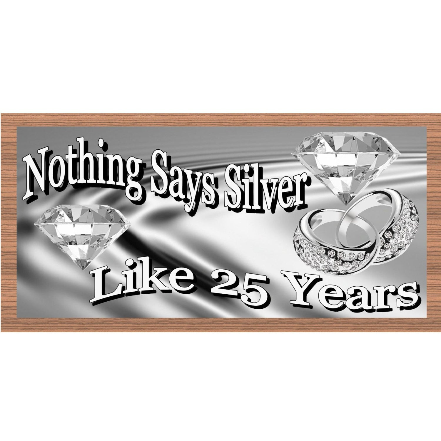 Anniversary Wood Signs - GS1801-Silver Anniversary Sign