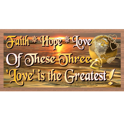 Romantic Wood Signs - Faith Hope Love - Romantic Plaque- GS 1815