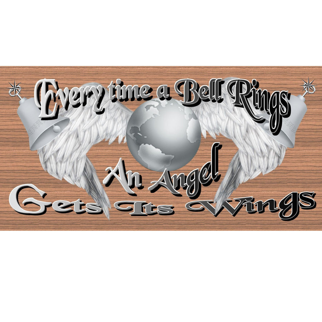 "Wood Signs - Everytime a Bell Rings An Angel Gets Its Wings GS1871 GiggleSticks "" Wood plaque Primitive"