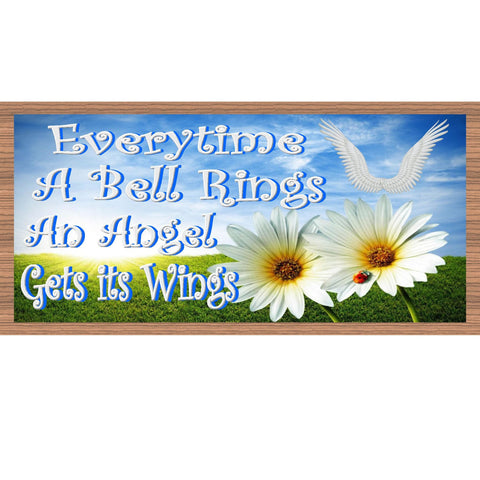 Angle Wood Signs - Everytime a Bell Rings - GS 1799-Spiritual Plaque