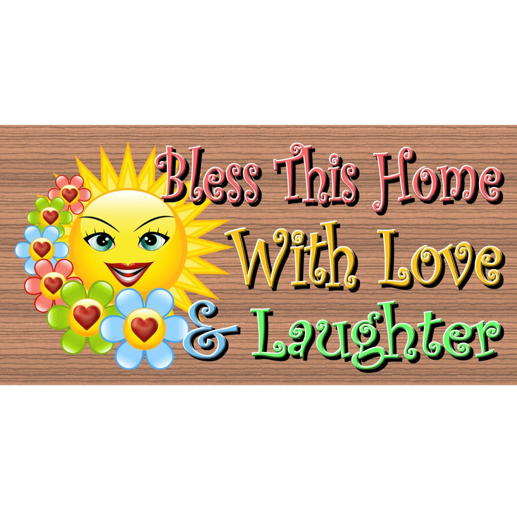 Wood Signs - Bless This Home With Love & Laughter GS1881 GiggleSticks