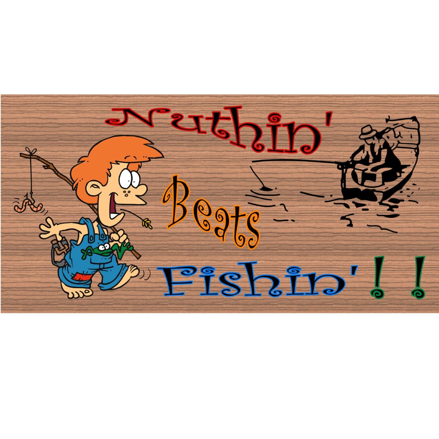 Fishing Wood Signs - Nothin Beats Fishin - GS 2007 - Fishing plaquen