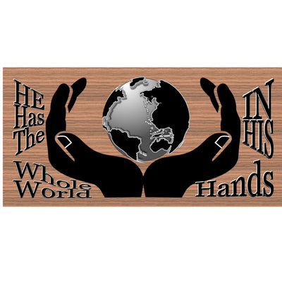 Spiritual Wood Signs - He Has the Whole World In His Hands- GS 1872-Spiritual Plaque