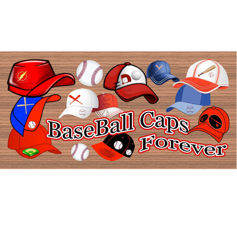 Wood Signs - Baseball Caps Forever GS2018 GiggleSticks Wood plaque Primitive