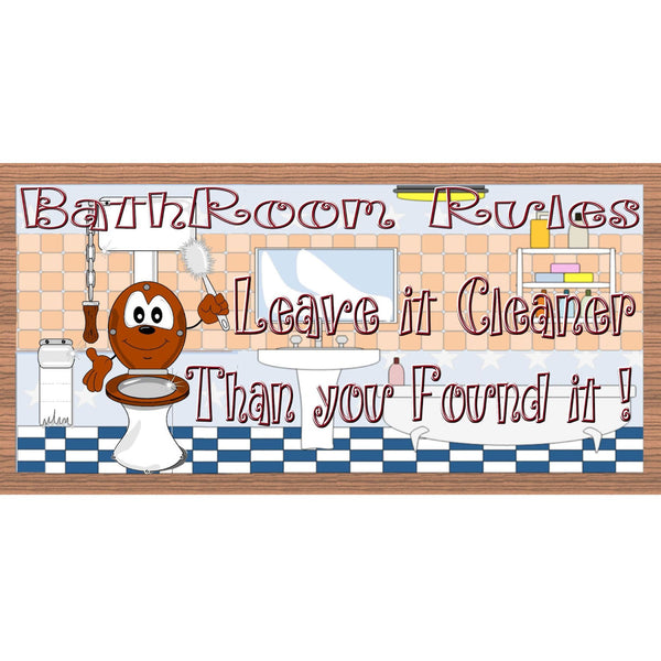 Bathroom Wood Signs - Bathroom Rules plaque -GS2085